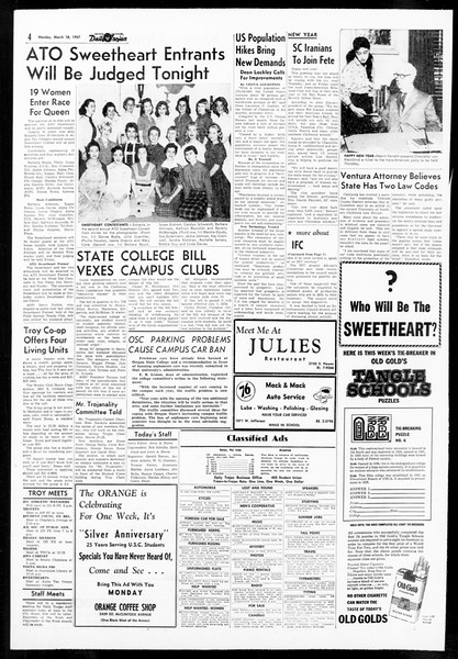 Daily Trojan, Vol. 48, No. 95, March 18, 1957