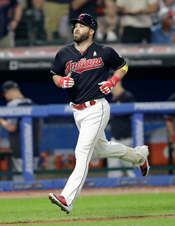 . Cleveland Indians\' Jason Kipnis runs the bases after hitting a solo home run off Tampa Bay Rays relief pitcher Chaz Roe in the ninth inning of a baseball game, Saturday, Sept. 1, 2018, in Cleveland. The Rays won 5-3. (AP Photo/Tony Dejak)