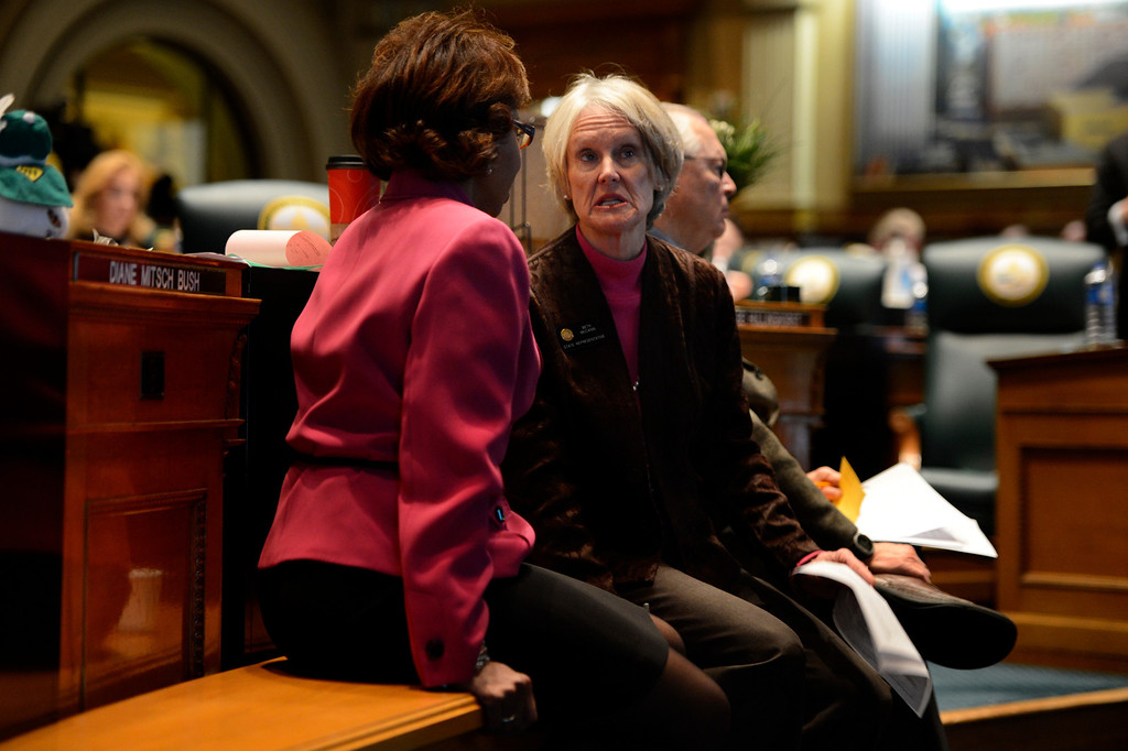 . DENVER, CO. - FEBRUARY 15: Representative Beth McCann talking to Representative Rhonda Fields as they discuss her amendment to HB 1224 prohibiting large capacity ammunition magazines in the Colorado House at the Denver State Capitol February 15, 2013. Denver, Colorado. (Photo By Joe Amon/The Denver Post)