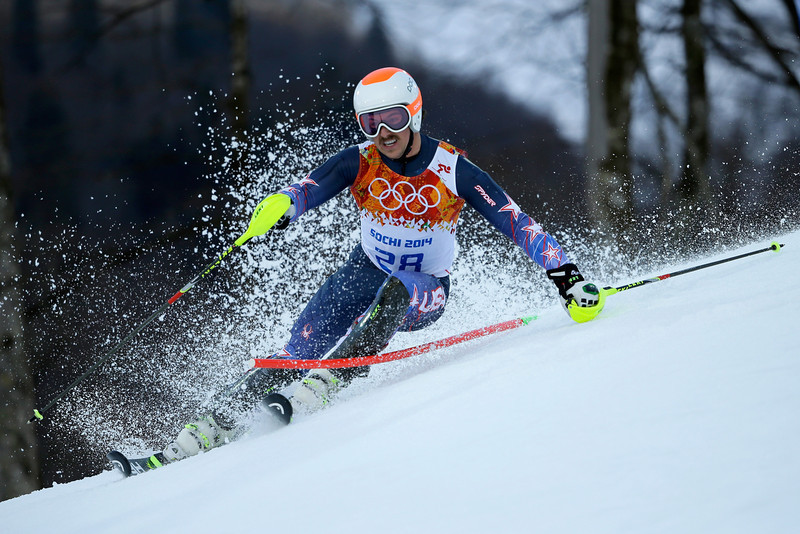 . Jared Goldberg of the United States competes during the Alpine Skiing Men\'s Super Combined Downhill on day 7 of the Sochi 2014 Winter Olympics at Rosa Khutor Alpine Center on February 14, 2014 in Sochi, Russia.  (Photo by Ezra Shaw/Getty Images)