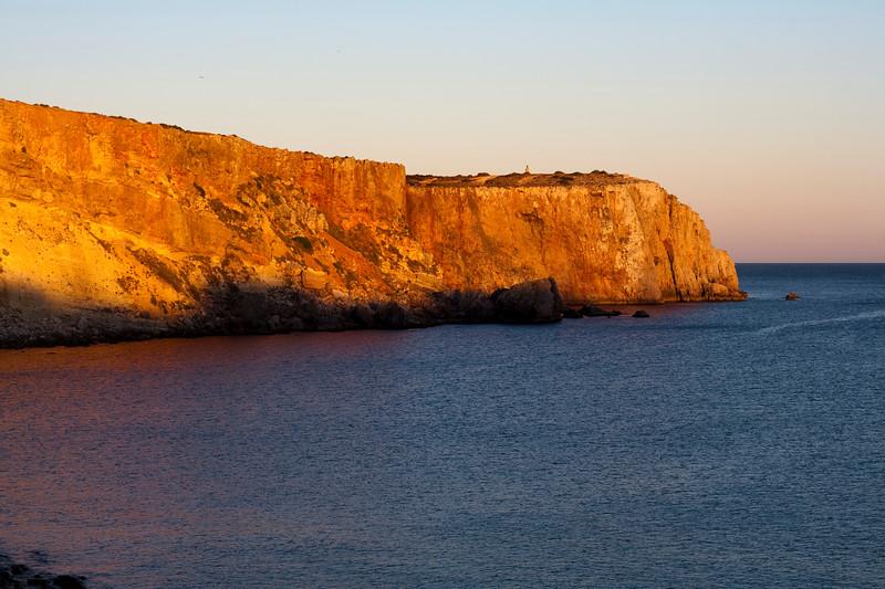 Mareta beach cliff at sunset, town of Sagres, municipality of Vila do Bispo, district of Faro, region of Algarve, southwestern Portugal
