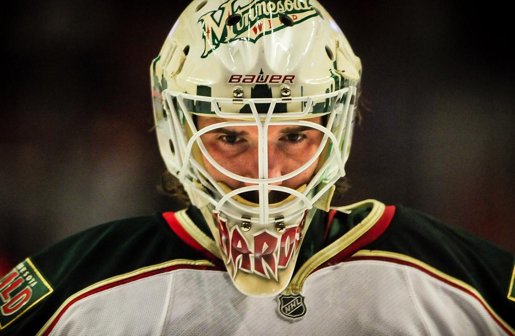 . Minnesota Wild goalie Josh Harding takes the ice before Game 2. (Pioneer Press: Ben Garvin)