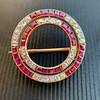 2.90ctw French Ruby and Diamond Brooch, by La Cloche Fres of Paris 1