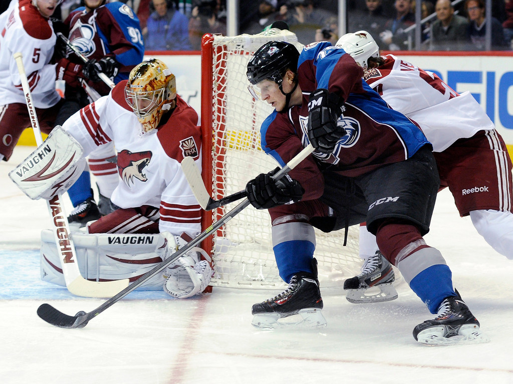 . Colorado center Nathan MacKinnon (29) wrapped around the net looking for an opening against Phoenix goalie Thomas Greiss (1) in the first period.  Photo By Karl Gehring/The Denver Post