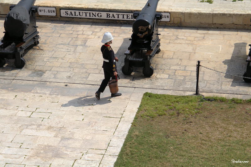 Preparing for the firing of the noon gun.   Valletta, Malta.     03/23/2019
