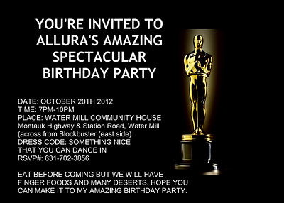 Allura's 13th B-Day Invite