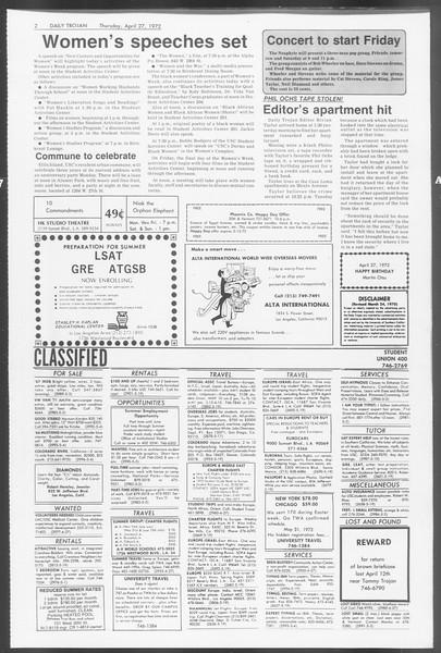 Daily Trojan, Vol. 64, No. 113, April 27, 1972