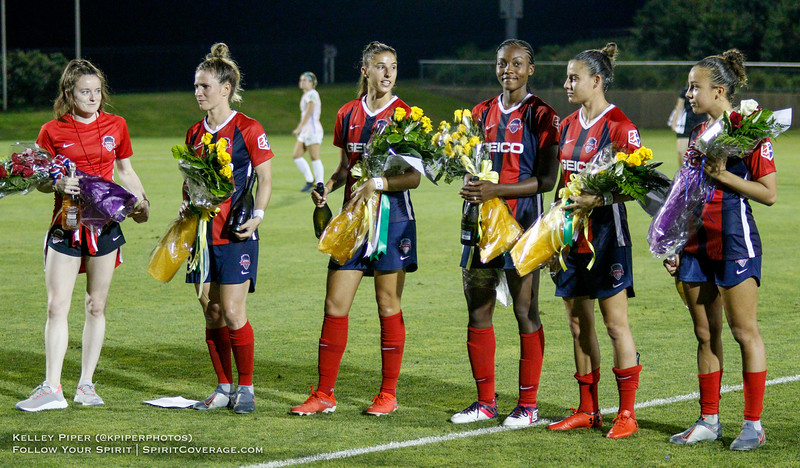 The Washington Spirit players who participated in the Women's World Cup were honored after the game at Maureen Hendricks Field in Boyds, MD, on July 20, 2019. From left: Rose Lavelle (USA), Elise Kellond-Knight (Australia), Amy Harrison (Australia), Cheyna Matthews (Jamaica), Chloe Logarzo (Australia), Mallory Pugh (USA)
