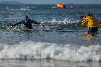 Sandman Triathlon - Swim Exit Blue Hats and Savage