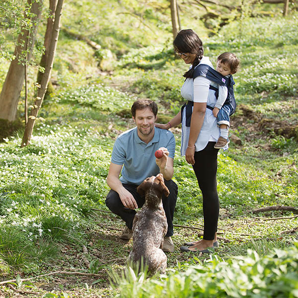Izmi_Baby_Carrier_Cotton_Midnight_Blue_Lifestyle_Back_Carry_Family_In_Woodland_With_Dog.jpg