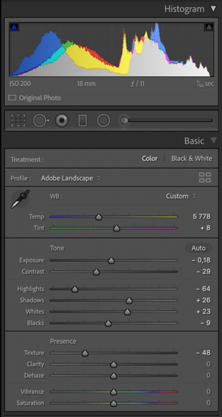 Smoothening the texture by moving the texture slider in the Basic panel to the left