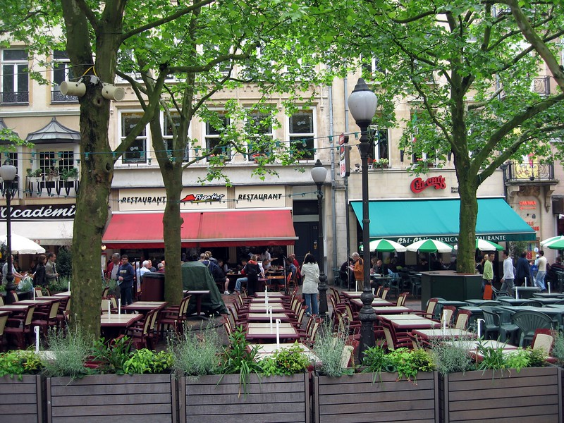 Pizza Hut and Chi-Chi's in the main plaza of Luxembourg City