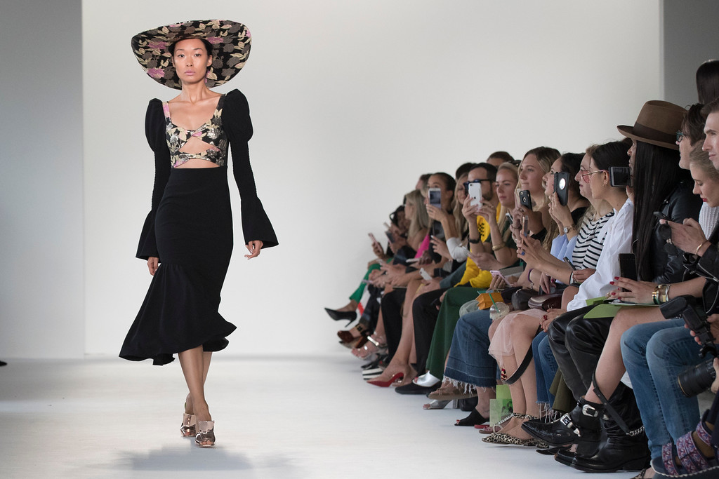 . A model walks the runway during the Christian Siriano Spring 2018 fashion show during New York Fashion Week, Saturday, Sept. 9, 2017, in New York. (AP Photo/Mary Altaffer)