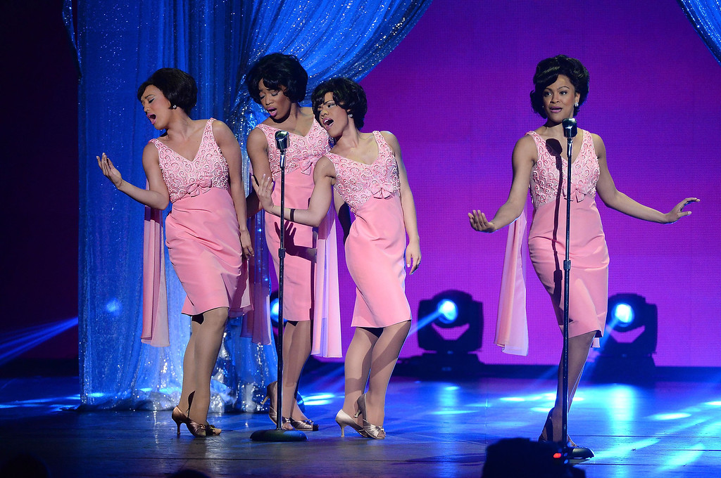 """. The cast of \""""Beautiful\"""" perform onstage during the 68th Annual Tony Awards at Radio City Music Hall on June 8, 2014 in New York City.  (Photo by Theo Wargo/Getty Images for Tony Awards Productions)"""