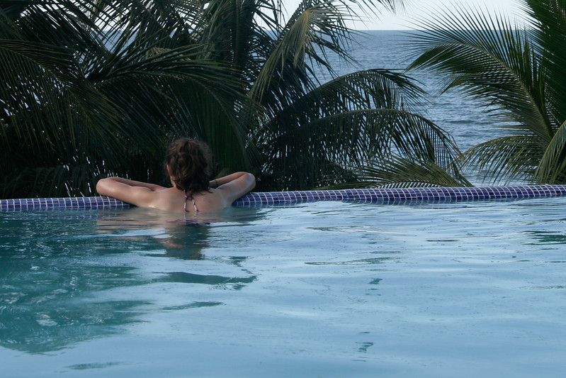 Enjoying the pool with a view at the hotel.