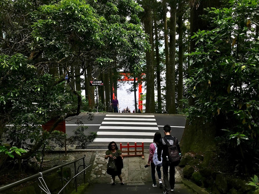 The stairs leading to the floating torii gate.