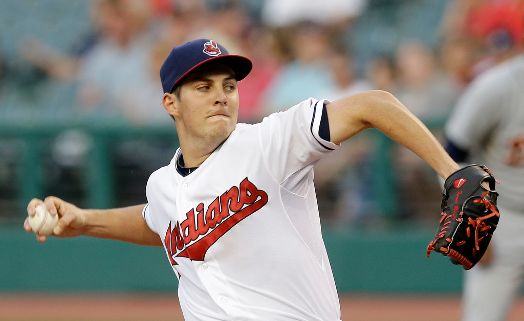 . Cleveland Indians starting pitcher Trevor Bauer delivers in the first inning of a baseball game against the Detroit Tigers on Thursday, Sept. 4, 2014, in Cleveland. (AP Photo/Tony Dejak)