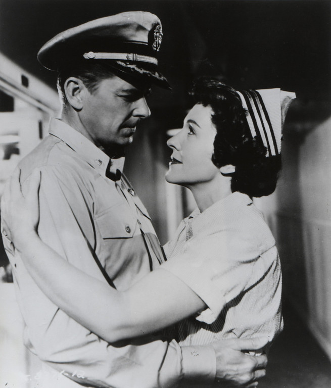 """. Ronald Reagan and Nancy Davis (Reagan) star in \""""Hellcats of the Navy,\"""" the only movie in which they performed togther.  the 1957 drama is the story of a submarine commander who must make important decisions and take calculated risks to stop the enemies in the mine fields of the Sea of Japan.   (Los Angeles Daily News file photo)"""
