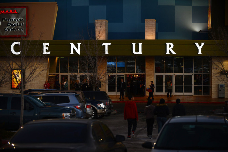 . AURORA, CO - JANUARY 17: People have begun flowing into the Century Aurora. The movie theater where a gunman killed 12 people and wounded dozens of others reopened with a private ceremony for victims, first responders and officials. (Photo By Hyoung Chang / The Denver Post)