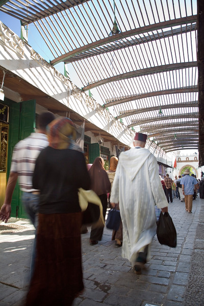 Souk shaded with a canopy, Tetouan medina, Morocco