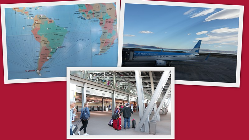 El Calafate International Airport with connecting map to the WORLD