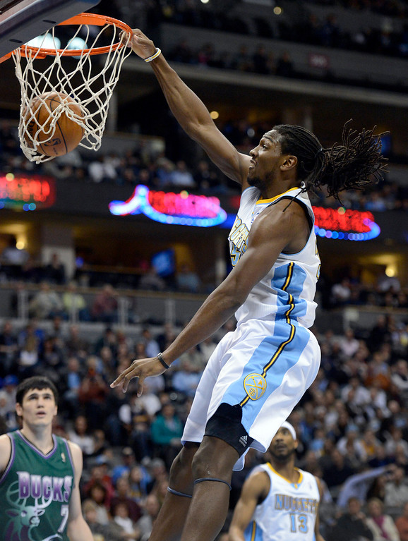 . DENVER, CO. - FEBRUARY 05: Kenneth Faried (35) of the Denver Nuggets goes up for a dunk during the second quarter against the Milwaukee Bucks February 05, 2013 at Pepsi Center. The Denver Nuggets take on the Milwaukee Bucks in NBA action. (Photo By John Leyba/The Denver Post)