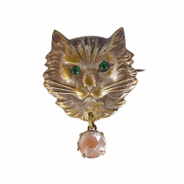 Antique Art Deco Figural Saphiret Glass Cat Brooch