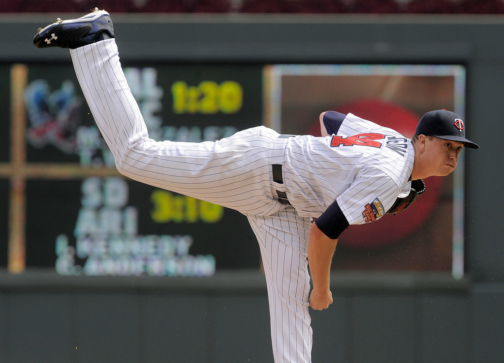 . 2Minnesota Twins\' Kyle Gibson pitches against the Detroit Tigers during the first inning of a baseball game Sunday, Aug. 24, 2014,in Minneapolis. (AP Photo/Tom Olmscheid)