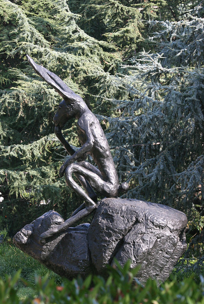 """The Thinker"" in the Sculpture Garden of the National Gallery"