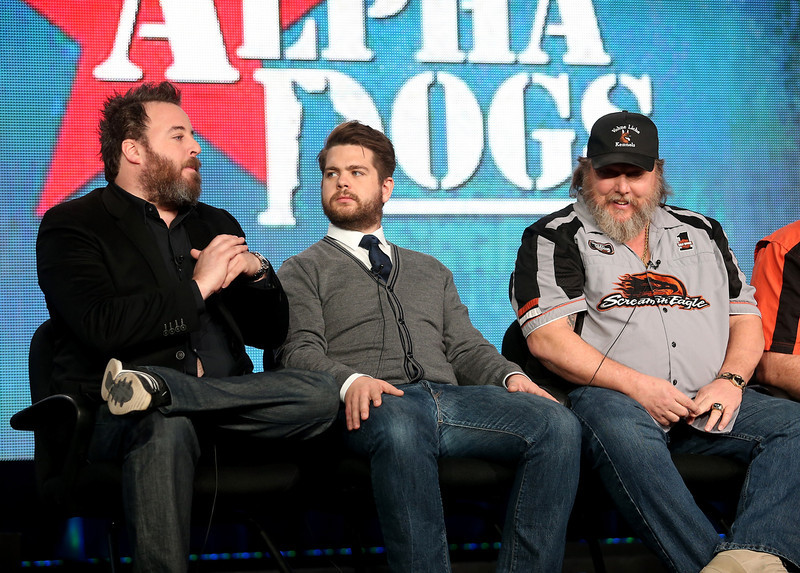 ". Executive Producers Rob Worsoff, Jack Osbourne, and Ken Licklider, Owner of Vohne Liche Kennels speak onstage during the ""Alpha Dogs\"" panel discussion at the National Geographic Channels portion of the 2013 Winter TCA Tour  - Day 1 at Langham Hotel on January 4, 2013 in Pasadena, California.  (Photo by Frederick M. Brown/Getty Images)"