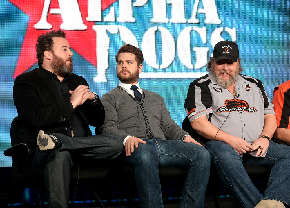 "Description of . Executive Producers Rob Worsoff, Jack Osbourne, and Ken Licklider, Owner of Vohne Liche Kennels speak onstage during the ""Alpha Dogs\"" panel discussion at the National Geographic Channels portion of the 2013 Winter TCA Tour  - Day 1 at Langham Hotel on January 4, 2013 in Pasadena, California.  (Photo by Frederick M. Brown/Getty Images)"