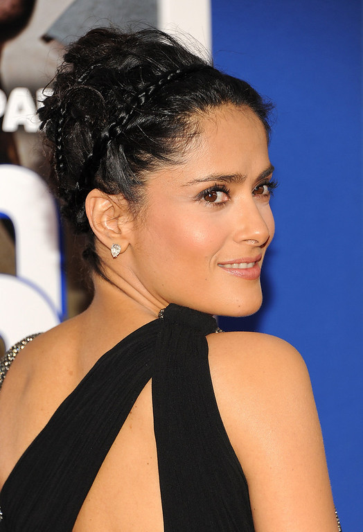 """. Actress Salma Hayek attends the premiere of \""""Grown Ups 2\"""" at the AMC Loews Lincoln Square on Wednesday, July 10, 2013 in New York. (Photo by Evan Agostini/Invision/AP)"""