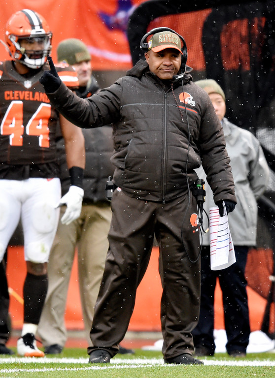 . Cleveland Browns head coach Hue Jackson watches in the first half of an NFL football game against the Jacksonville Jaguars, Sunday, Nov. 19, 2017, in Cleveland. (AP Photo/David Richard)