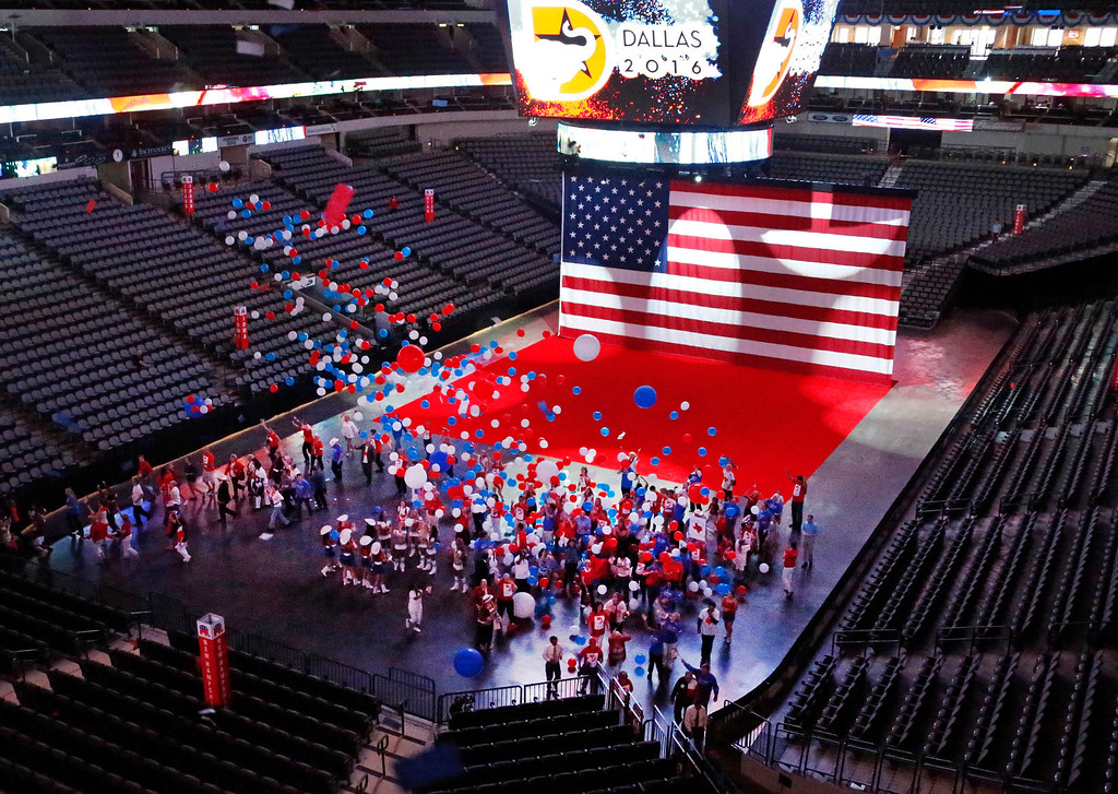. A balloon drop concludes a video presentation during the Republican National Committee site selection committee visit to the American Airlines Center, as the city of Dallas vies for the 2016 Republican National Convention, on Thursday, June 12, 2014.  (Louis DeLuca/Dallas Morning News)