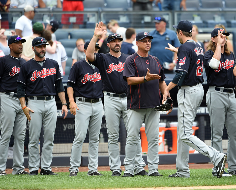 . The bullpen has to stay strong >> The Indians bullpen is one of the best in baseball. Cody Allen was 32 of 35 in save situations in the regular season and 6 of 6 in the postseason. Lefty Boone Logan, lefty Andrew Miller and right-hander Bryan Shaw have established track records that make it unreasonable to fear they won�t succeed again. (AP Photo/Kathy Kmonicek)