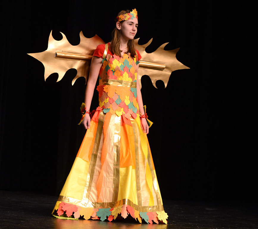 """. \""""Autumn Fairy\"""" is the title of Veronica Muha\'s creation as she models it at the third annual Paper Skirt Fashion Show held at Liberty High School in Brentwood, Calif.  on Tuesday, Jan. 29, 2013. Muha received the prize for Best of Show in her third period class.  (Susan Tripp Pollard/Staff)"""
