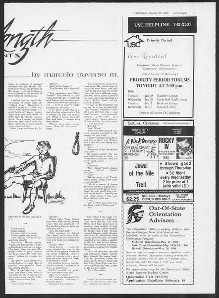Daily Trojan, Vol. 100, No. 14, January 29, 1986