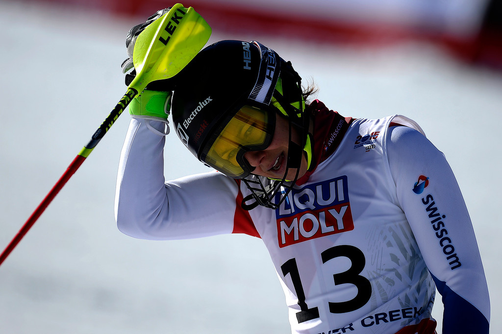 . Wendy Holdener of Switzerland reacts to her run during the ladies\' slalom. FIS Alpine World Ski Championships 2015 on Saturday, February 14, 2015. (Photo by AAron Ontiveroz/The Denver Post)