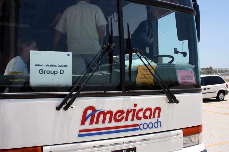 The front of our VIP shuttle bus at the Kennedy Space Center.  We were guests of the Administrator of NASA.