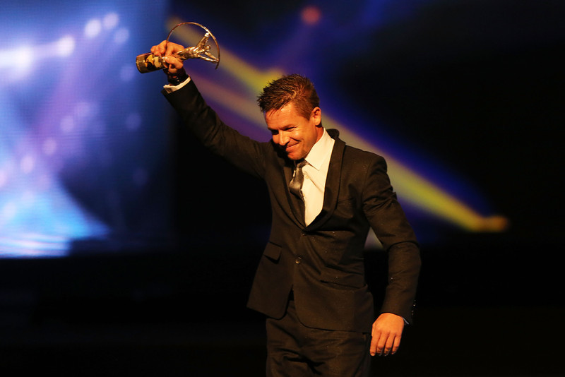 . Skydiver Felix Baumgartner poses with his trophy for Laureus World Action Sportsperson of the Year on stage during the awards show for the 2013 Laureus World Sports Awards at the Theatro Municipal Do Rio de Janeiro on March 11, 2013 in Rio de Janeiro, Brazil.  (Photo by Ian Walton/Getty Images For Laureus)