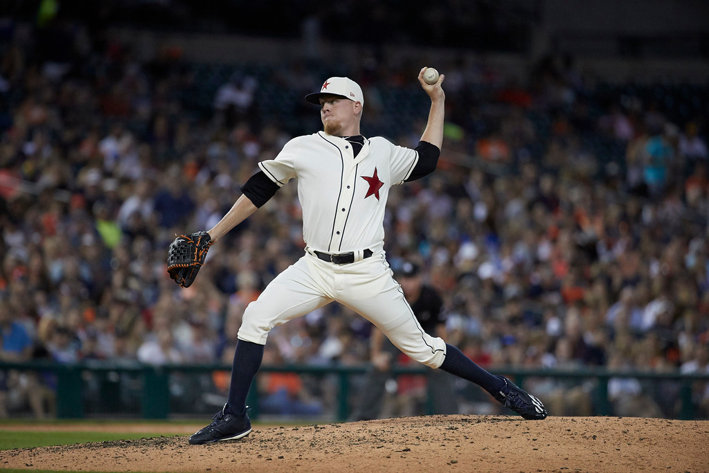 . Detroit Tigers relief pitcher Daniel Stumpf pitches against the Cleveland Indians during the sixth inning in the second baseball game of a doubleheader in Detroit, Saturday, July 1, 2017. (AP Photo/Rick Osentoski)