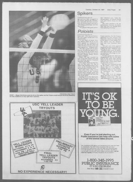 Daily Trojan, Vol. 105, No. 33, October 20, 1987