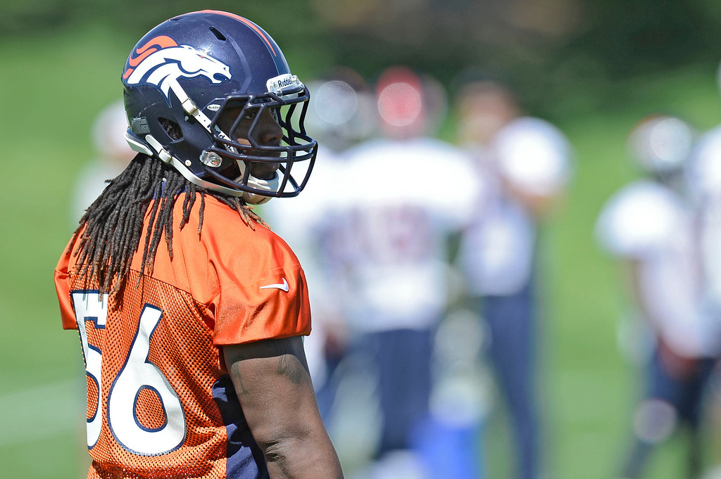 . Denver Broncos Nate Irving (56) looks on during OTA\'s May 30, 2013 at Dove Valley. (Photo By John Leyba/The Denver Post)