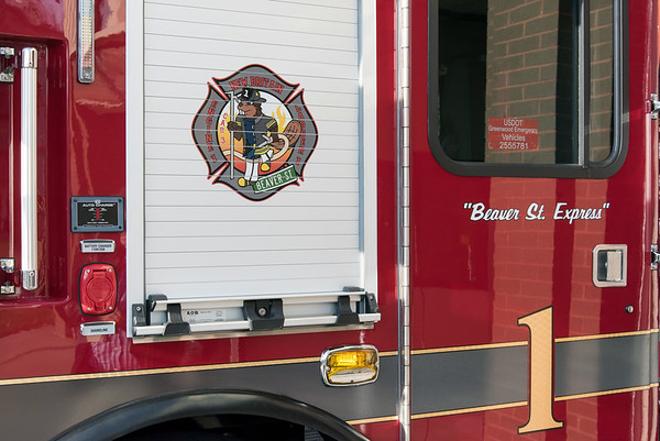 11/14/18 Wesley Bunnell | Staff The New Britain Fire Department unveiled three new fire trucks on Wednesday afternoon during a ceremony at their Beaver St headquarters. Engine 1 which is nicknamed the Beaver St. Express.