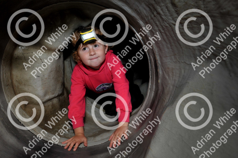 The Brecon Beacons National Park open invitation to join in its 60th Anniversary celebrations at Party in the Park at Craig-y-nos Country Park.  Catrin Jones aged 6 inside the British Caving Association Artificial Cave display.