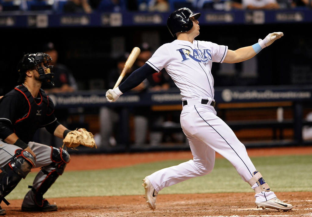 . Tampa Bay Rays\' Corey Dickerson watches his three-run home run off Indians reliever Nick Goody during the eighth inning of a baseball game Thursday, Aug. 10, 2017, in St. Petersburg, Fla. (AP Photo/Steve Nesius)