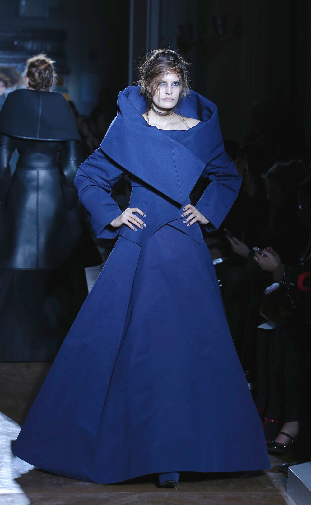 . A model wears a creation by British fashion designer Gareth Pugh for his Ready to wear Fall/Winter 2013/2014. fashion collection presented in Paris, Wednesday, Feb. 27 2013. (AP Photo/ Jacques Brinon)