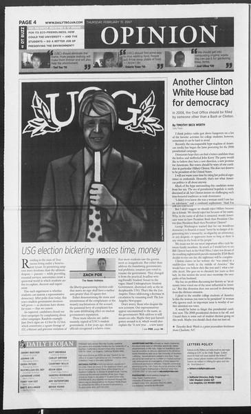 Daily Trojan, Vol. 160, No. 26, February 15, 2007