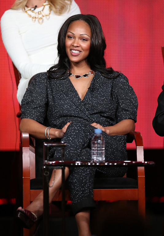 ". Actress Meagan Good speaks onstage at the ""Deception\"" panel session during the NBCUniversal portion of the 2013 Winter TCA Tour- Day 3 at the Langham Hotel on January 6, 2013 in Pasadena, California.  (Photo by Frederick M. Brown/Getty Images)"