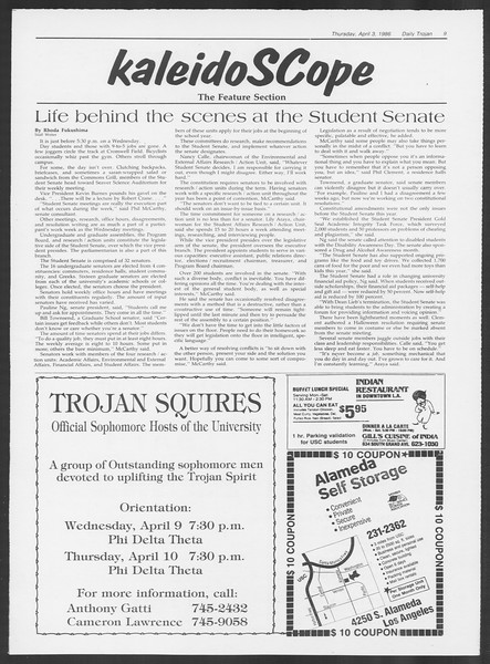 Daily Trojan, Vol. 100, No. 52, April 03, 1986